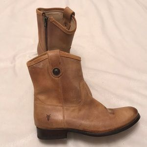 Frye Melissa button zip ankle bootie
